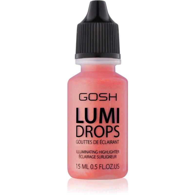 Gosh Lumi Drops róż w płynie odcień 010 Coral Blush 15 ml