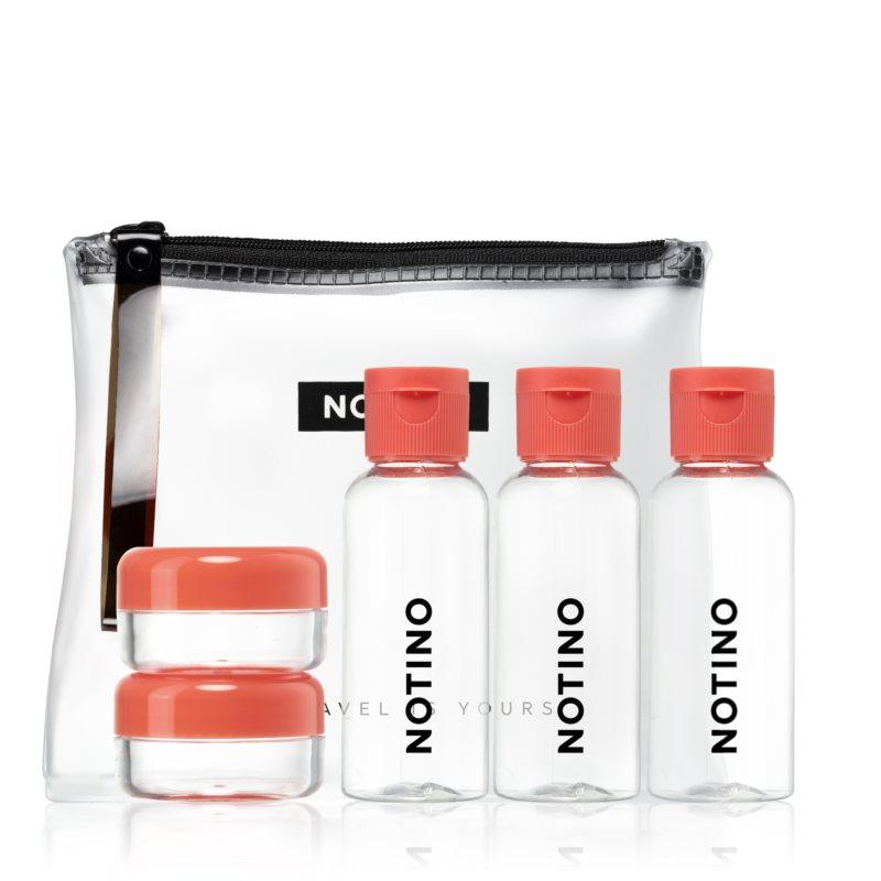 Notino Travel zestaw podróżny z 5 pustymi pojemniczkami w kosmetyczce CORAL